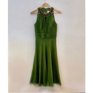Badgley Mischka Silk Emerald Green Jeweled Gown